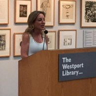 Author Emily Liebert speaking to readers at The Westport Library