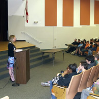 Author Emily Liebert speaking to students about writing at Piper High School in Sunrise, Florida