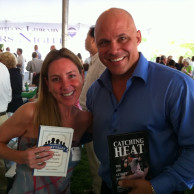 Emily Liebert with fellow author & former New York Yankee Jim Leyritz at East Hampton Library Authors Night