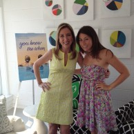 With publicist Julie Chudow at Serena & Lily Beach Market in The Hamptons