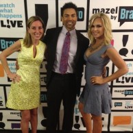 Author Emily Liebert with Eddie & Tamra Judge from Real Housewives of Orange County at Watch What Happens Live