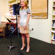 Author Emily Liebert speaking about her new novel When We Fall at the release party at The Westport Library