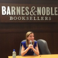 Author Emily Liebert discussing her novel, You Knew Me When, at her West Coast launch event at Barnes & Noble at The Grove in Los Angeles